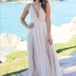 da3fb76554d Saved by the Dress Dresses - White Tulle Maxi Dress with Criss Cross Back